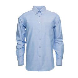 CAMISA OXFORD MANGA LARGA  CELESTE  70/30